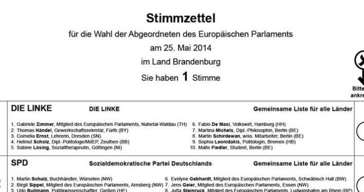 Ausschnitt Stimmzettel Europawahl 2014